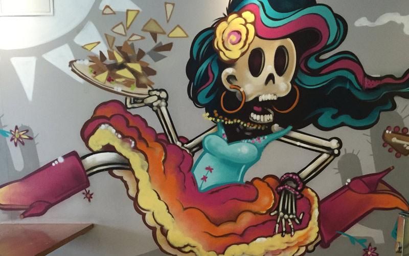 Mexigo Restaurant Day of the Dead Interior Graffiti Mural Design Southampton & Bournemouth