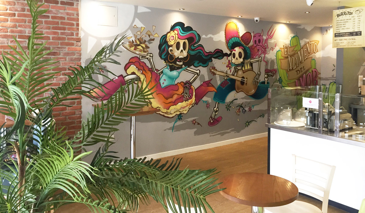 Mexigo Restaurant Day of the Dead Interior Graffiti Mural Design Southampton & Bournemouth