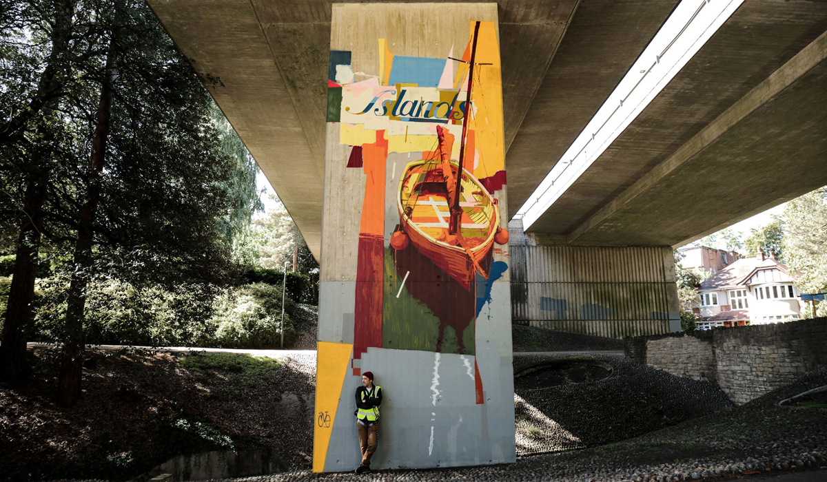 UPSIDE GALLERY street art and graffiti murals in Bournemouth tea one