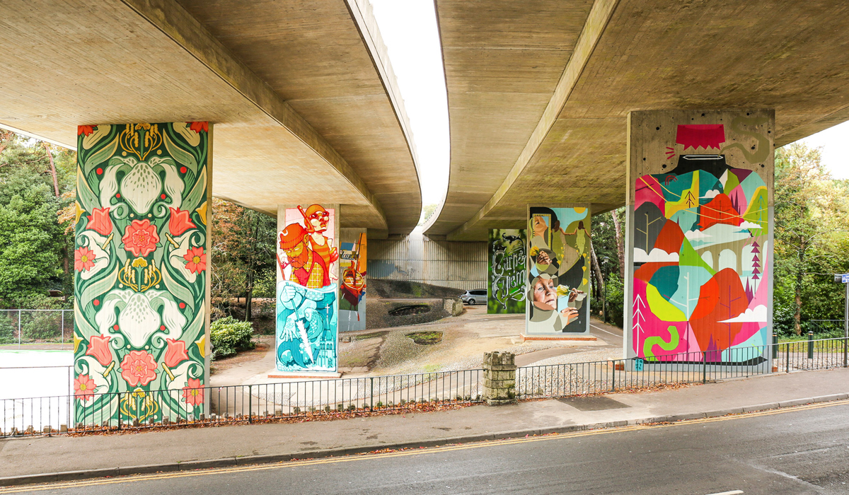 UPSIDE GALLERY outdoor street artist and graffiti artist murals in Bournemouth