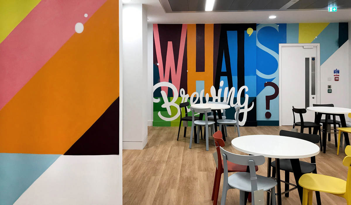ZX Ventures London Office Interior What's Brewing Graffiti Murals Design and Signage Paintshop Studio