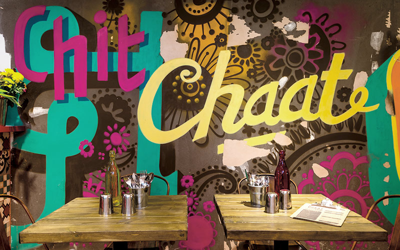 CHIT CHAAT CHAI WANDSWORTH LONDON RESTAURANT MURAL & DESIGN BY PAINTSHOP STUDIO