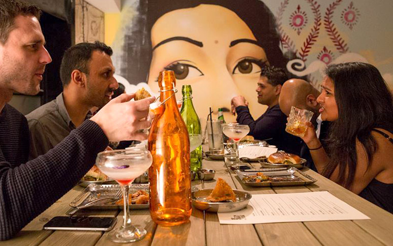 CHIT CHAAT CHAI WANDSWORTH RESTAURANT MURAL & DESIGN BY PAINTSHOP STUDIO
