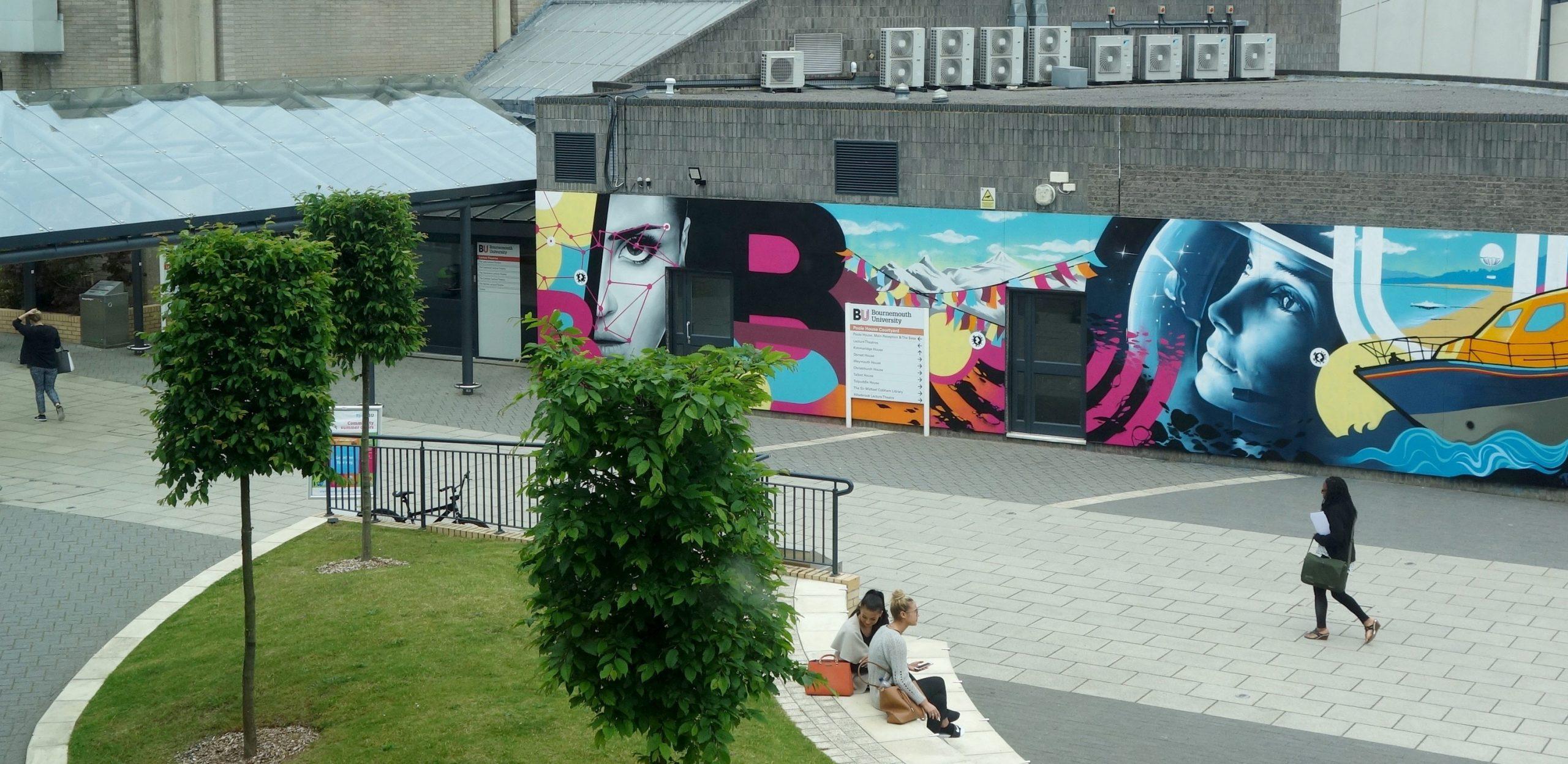 BOURNEMOUTH UNIVERSITY FUSION BUILDING EXTERIOR STREET ART GRAFFIITI MURAL & DESIGN PAINTSHOP STUDIO