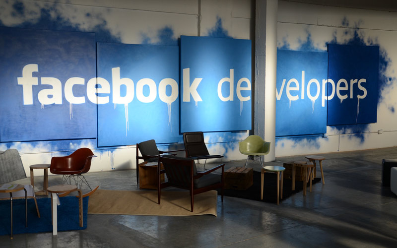 Facebook graffiti mural & graphics for Truman brewery mobile developers event Paintshop studio