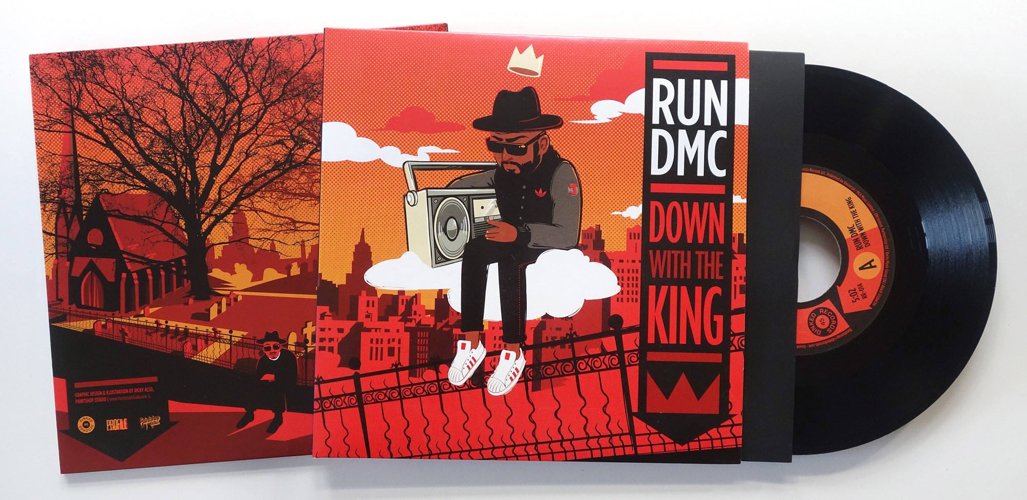 RUN DMC Down with the King Album Record Sleeve Design and Illustration by Paintshop Studio