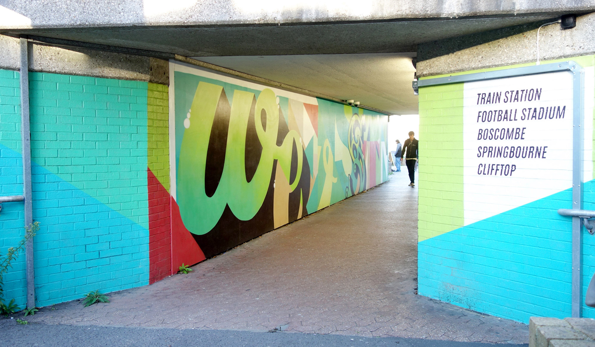BCP COUNCIL STATION ROUNDABOUT GRAFFITI STREET ART SUPERGRAPHICS SIGNWRITING WAYFINDING MURAL