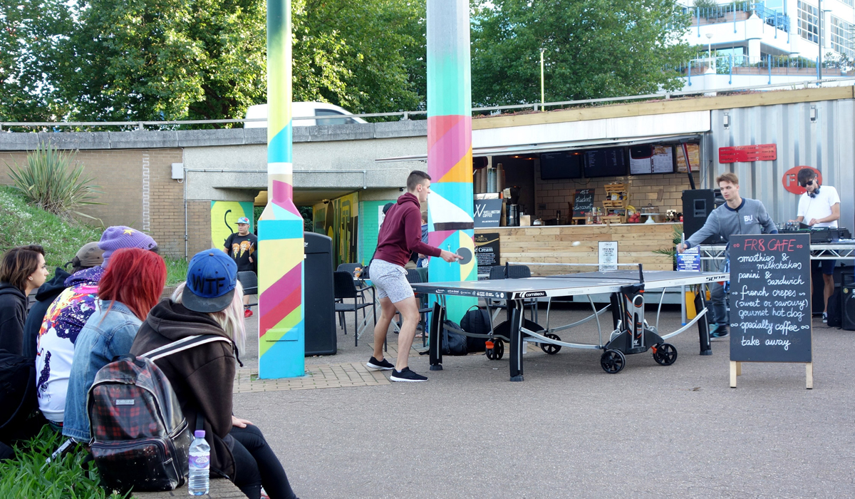 BCP COUNCIL STATION ROUNDABOUTPEOPLE PLAYING PING PONG GRAFFITI STREET ART SUPERGRAPHICS MURAL