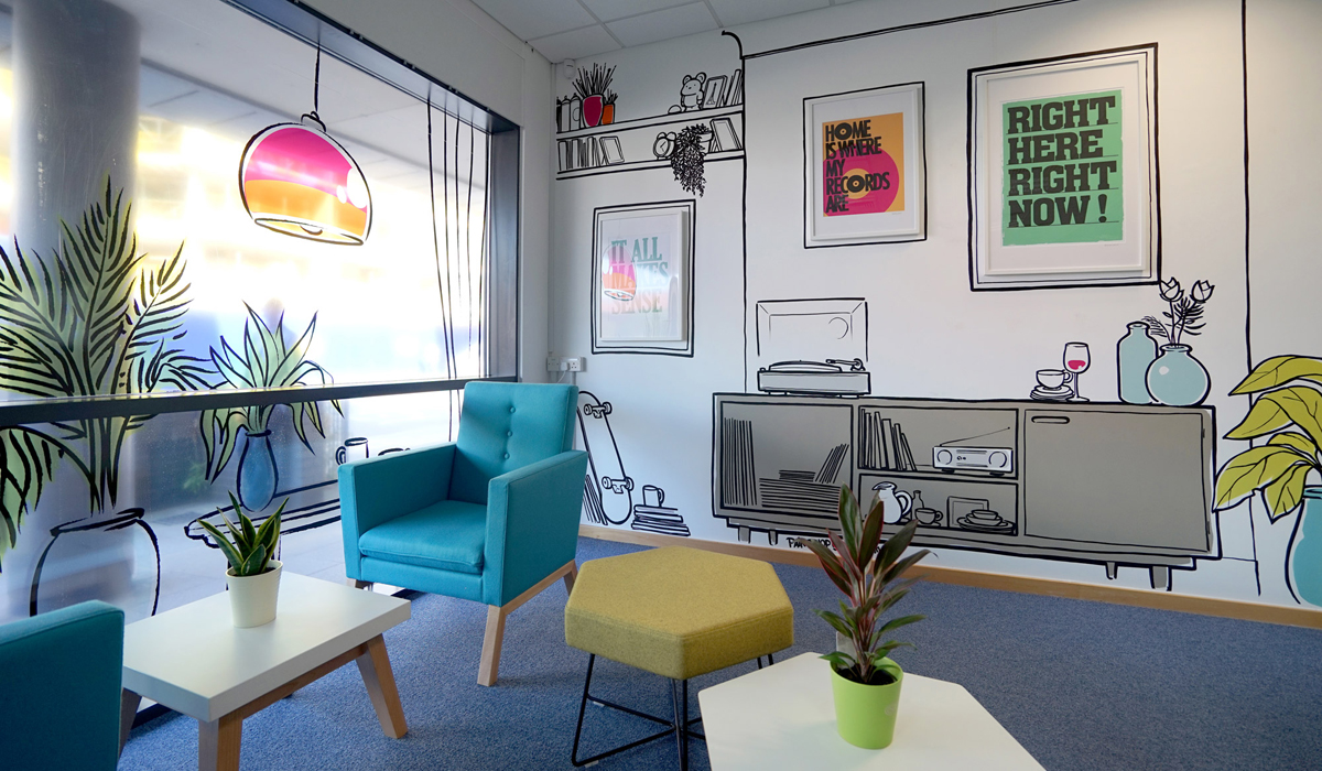 BU Lettings Office Interior Sketch Graffiti Murals & Vinyl Signage Bournemouth by Paintshop Studio