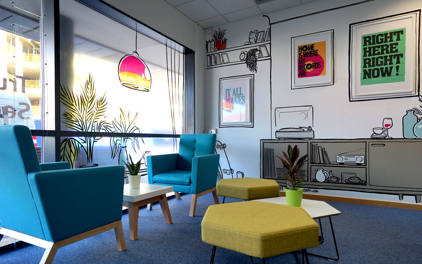 BU Lettings Office Interior Sketch Graffiti Murals & Vinyl Signage Bournemouth by Paintshop Studio