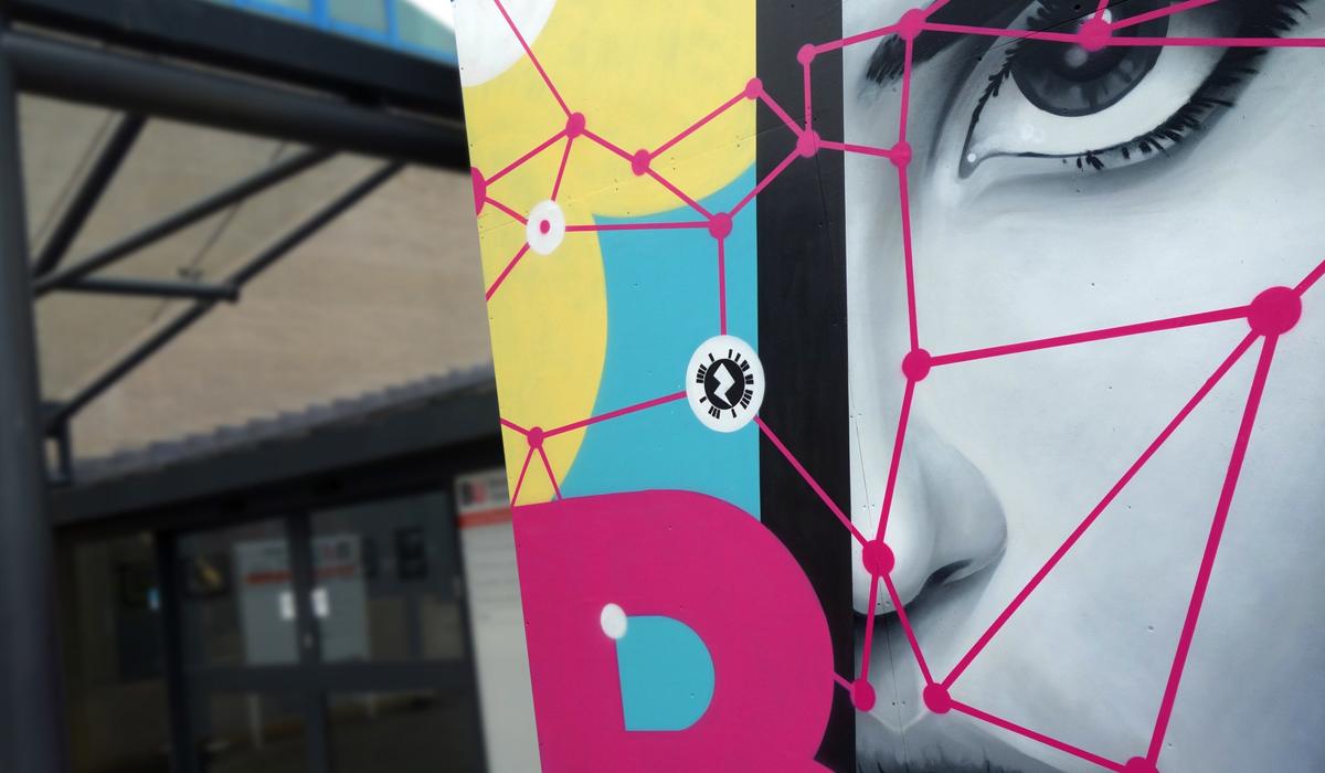 Bournemouth University CLOSE UP OF EXTERIOR STREET ART GRAFFIITI MURAL & DESIGN PAINTSHOP STUDIO
