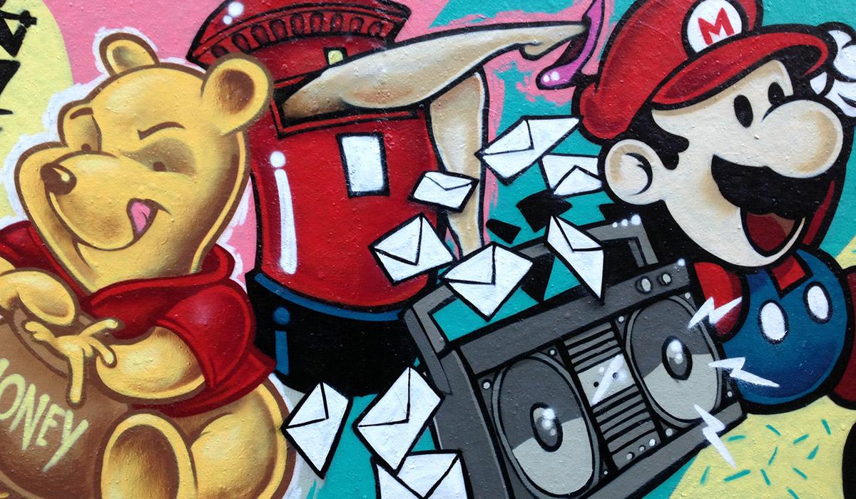 Super Mario Winnie the Pooh Graffiti Street art Dj Format