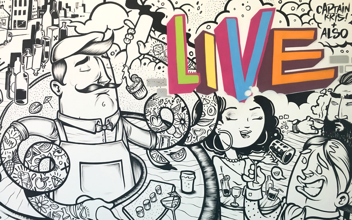 Imbibe Live Kensington Olympia London Line Drawing Illustration Art Event by Paintshop Studio