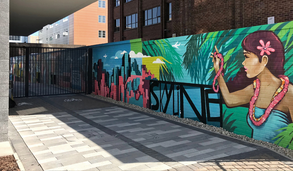 Skyline Student Accommodation College Garden Graffiti Mural in Bournemouth by Paintshop Studio