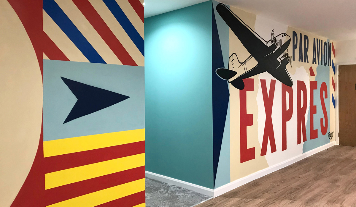 Skyline Student Accommodation College Interior Graffiti Mural in Bournemouth by Paintshop Studio