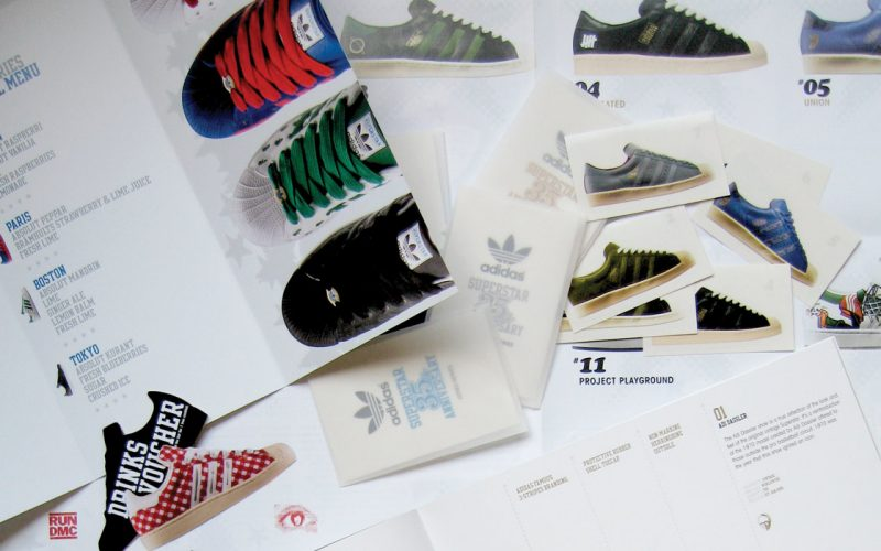 Adidas superstar 35th anniversary sticker book design