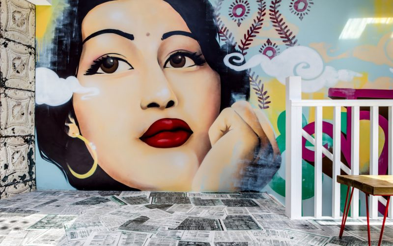 CHIT CHAAT CHAI WANDSWORTH RESTAURANT MURAL & DESIGN OF INDIAN ACTRESS BY PAINTSHOP STUDIO